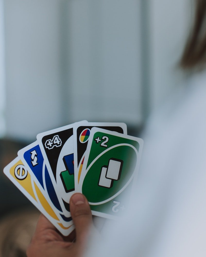 kmart travel games - playing uno game pic