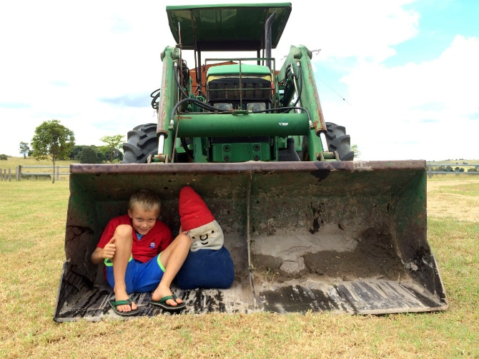 farmstay brisbane qld ned and roam in tractor