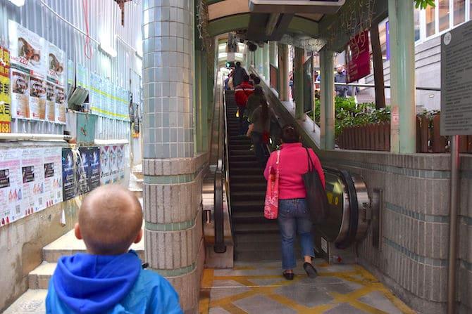 hong kong escalator street stairs up