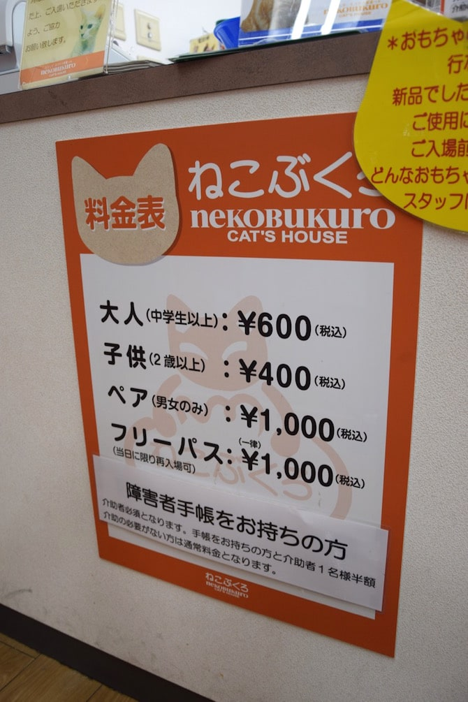 tokyo cat cafe ikebukuro entry fees