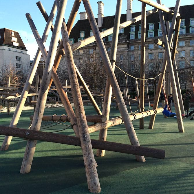 Jubilee gardens playground near London Eye - balance beam in afternoon sun