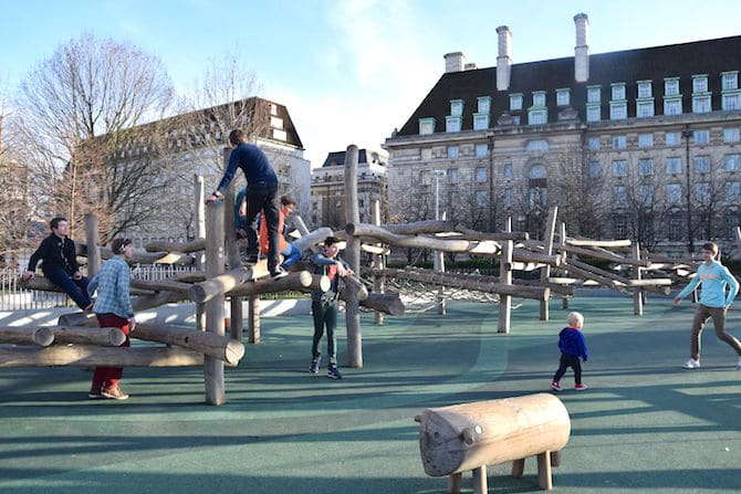 Jubilee gardens playground near London Eye - timber structure
