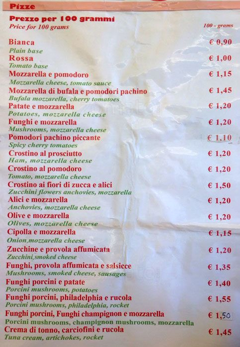 Best cheap Pizza in Rome at pizza florida - menu pic