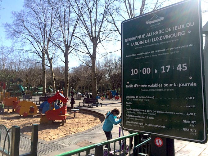 Kids Paris. Jardin du Luxembourg Playground sign. For more SUPER DOOPER FUN ideas for family-friendly weekend adventures and travel with kids, all over the world, visit our FAMILY TRAVEL DIRECTORY www.roamthegnome.com. Search by city. Rated by kids and our travelling Gnome.