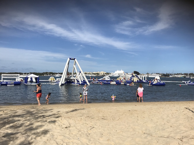 Roam the Gnome Family Travel Directory- Aqua Splash Gold Coast Water Park Southport Broadwater Parklands view