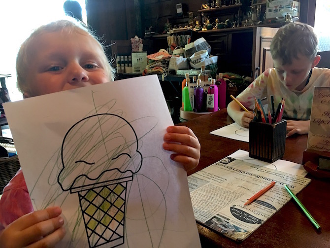 Roam the Gnome Family Travel Directory. Biku High Tea Cafe Bali Seminyak colouring in for kids