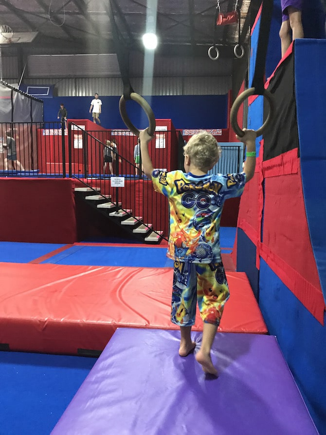 Roam the Gnome Family Travel Directory - Spring Loaded Trampoline Park Tweed Heads Banora Point trapeze rings