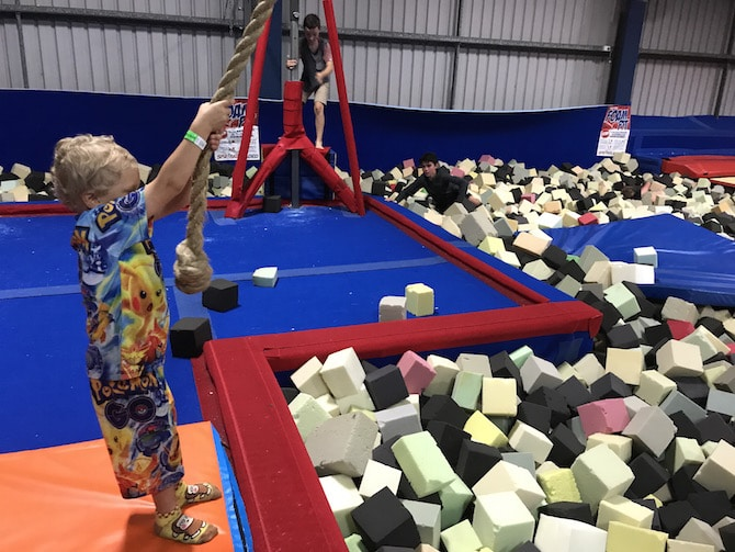 Roam the Gnome Family Travel Directory - Spring Loaded Trampoline Park Tweed Heads Banora Point rope swing