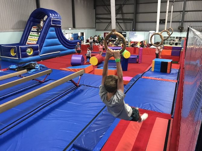 Roam the Gnome Family Travel Directory - Spring Loaded Trampoline Park Tweed Heads Banora Point parkour rings