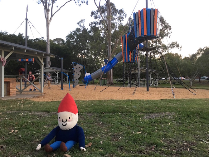 Visit Roam the Gnome Family Travel Directory for MORE SUPER DOOPER FUN ideas for family travel. Search by City. Photo- Lions Park Playground Helensvale QLD giant slide