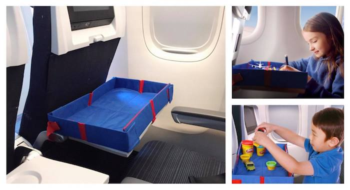 portable travel tray for snacks and food for traveling with a toddler on a plane pic