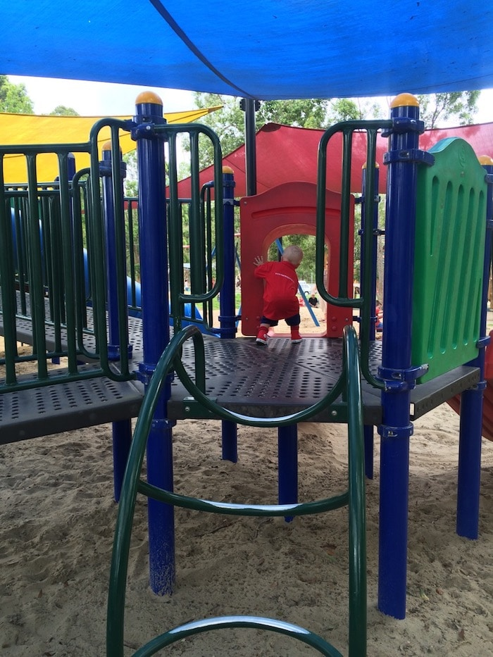 Funderwood Hollow toddler playground at Underwood Park. Visit ROAM THE GNOME FAMILY TRAVEL WEBSITE. Hundreds of fun ideas & activities to help you plan & book your next family vacation or weekend adventure