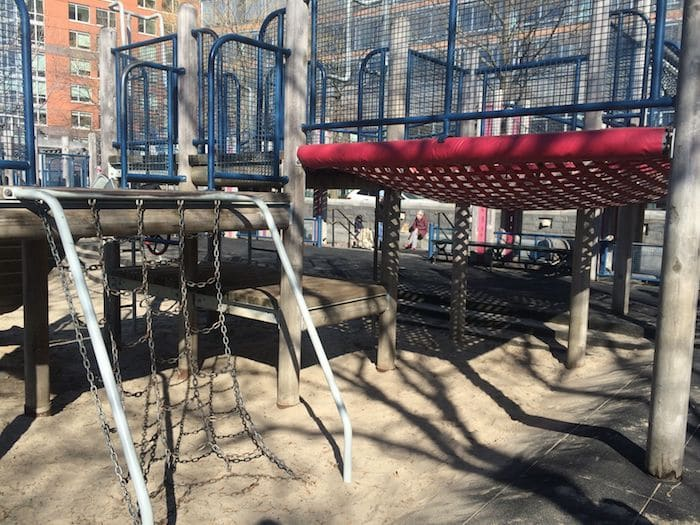 Red scramble net at Rockefeller Park Playground NYC ROAM THE GNOME Family Travel Website. Hundreds of fun ideas and activities to help you plan and book your next family vacation or weekend adventure