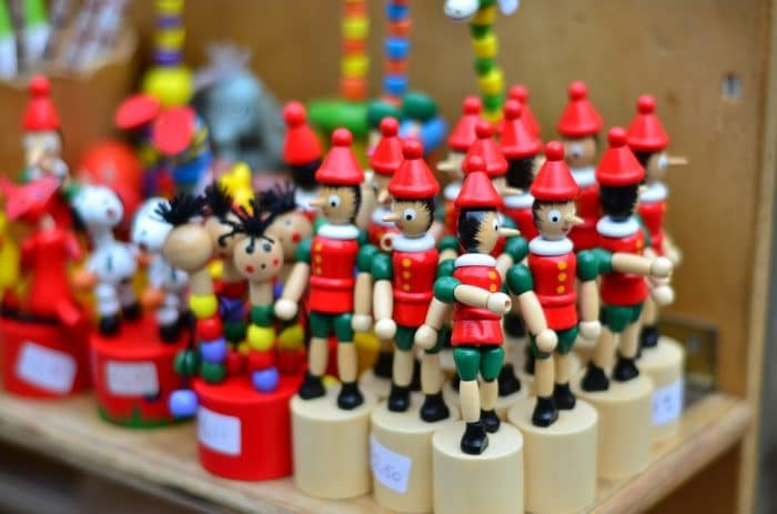 Italy souvenirs - Pinocchio toy store in Rome