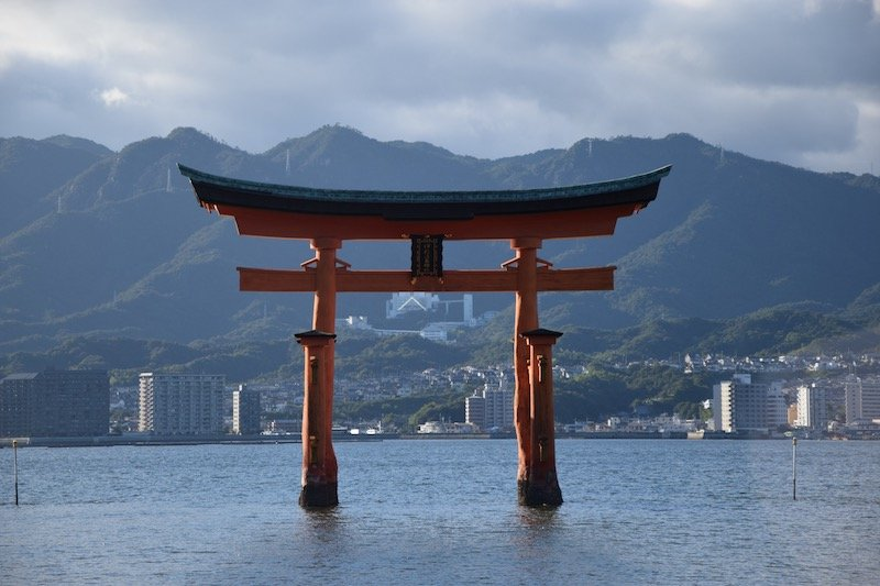 miyajima island red torri gates