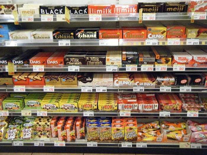 buying chocolate in a japanese grocery store
