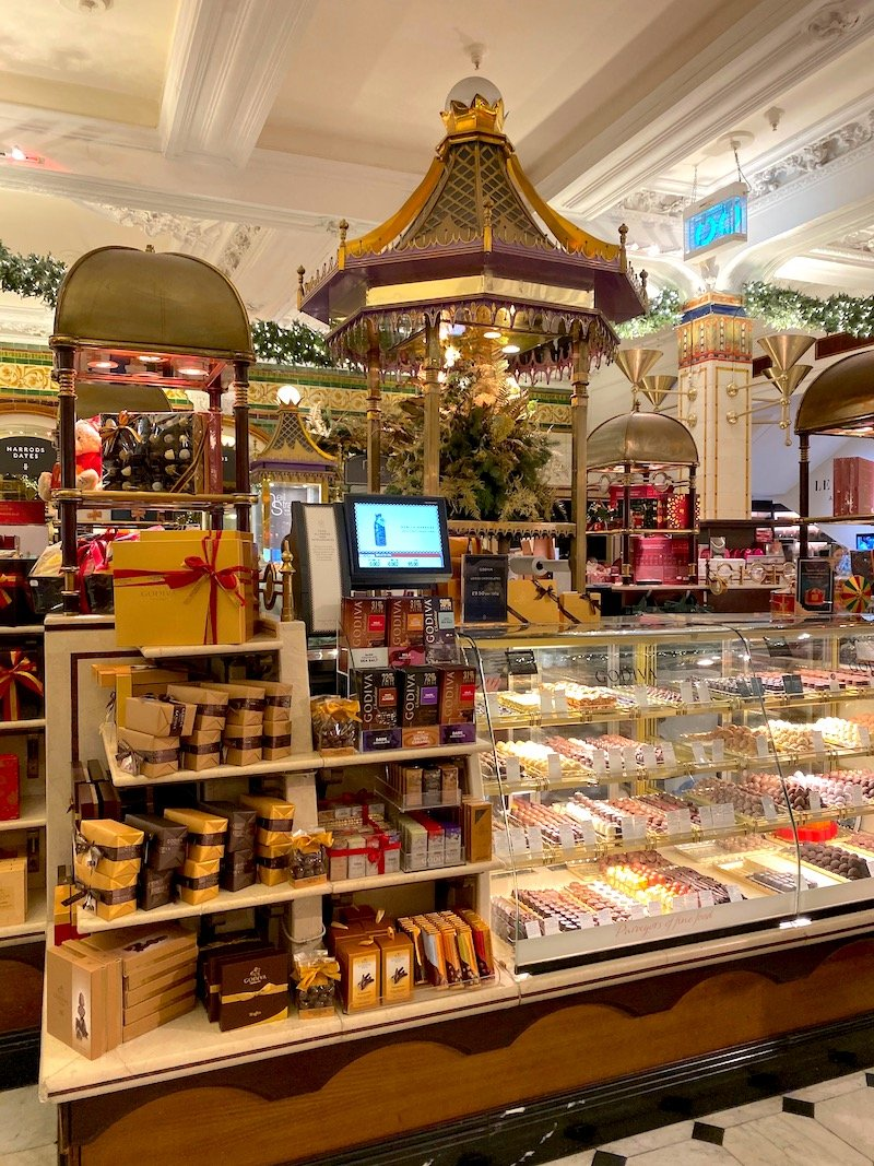 harrods food hall chocolate stand pic