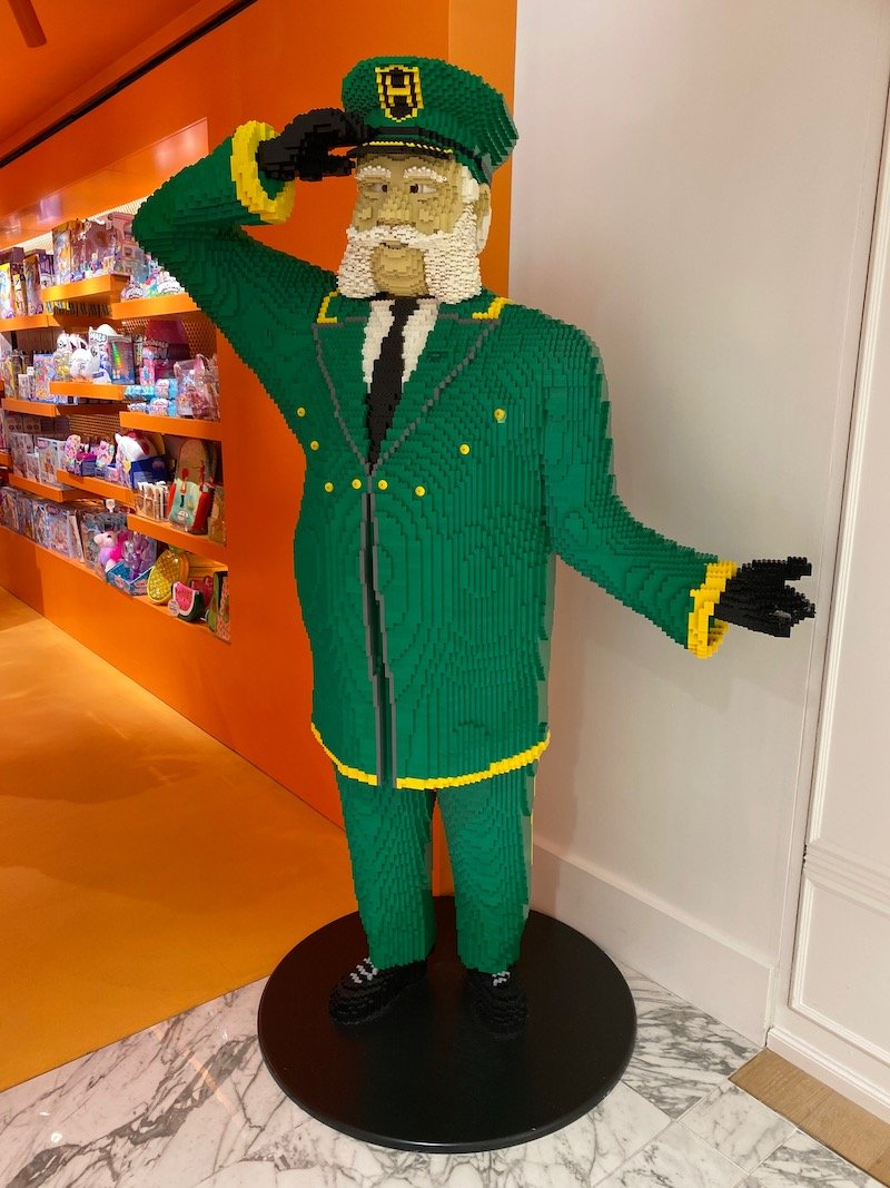harrods lego man at toy shop