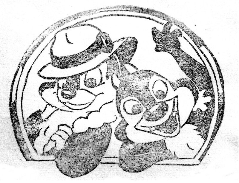 chip and dale linoleum stamp by monsieuricon