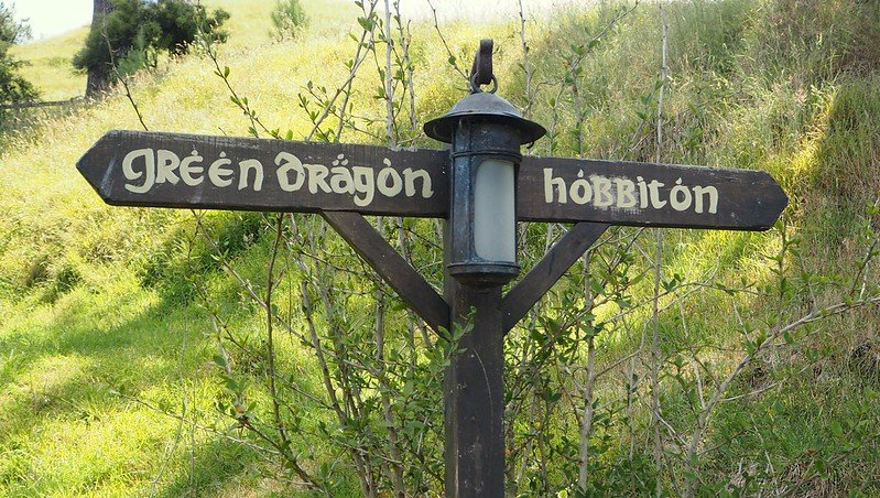 hobbiton movie set green dragon sign by henry burrows