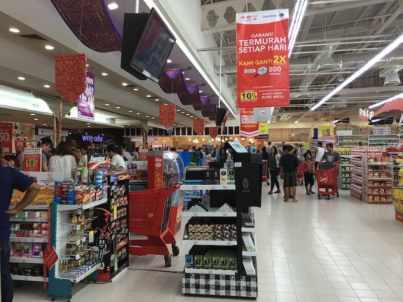 Carrefour Bali Supermarket registers near front of store pic