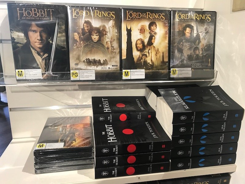 hobbiton lord of the rings books and dvds pic