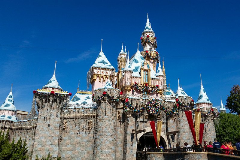 sleeping beauty castle at disneyland christmas by harshlight