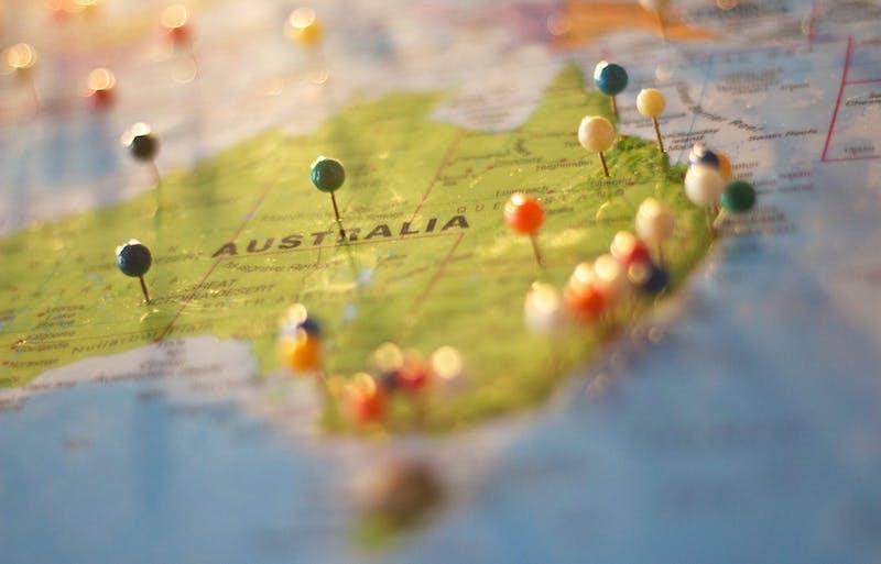 australia map with pushpins by catarina sousa via pexels 800