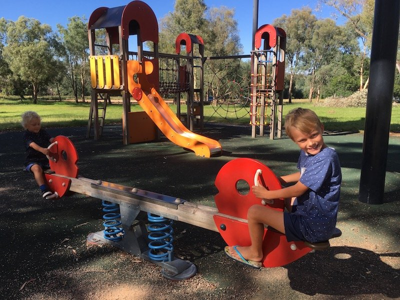 black mountain peninsula playground canberra seesaw and fort pic