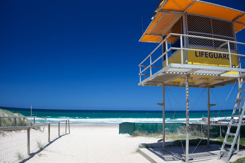 Gold coast beach with lifeguard tower